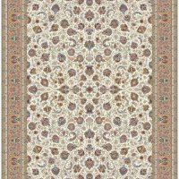 فرش ۱۲۰۰ شانه نقشه یادگار افشان کرم حاشیه گلبهی