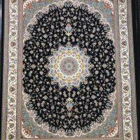 فرش ۱۲۰۰ شانه نقشه اصفهان سرمه ای