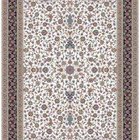 فرش ۱۲۰۰ شانه نقشه افشان کرم حاشیه سرمه ای