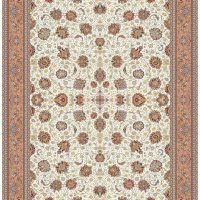 فرش ۱۰۰۰ شانه نقشه افشان کرم حاشیه گلبهی