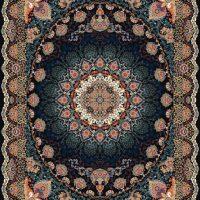 فرش ۱۰۰۰ شانه نقشه تبسم سرمه ای
