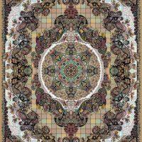 فرش ۱۰۰۰ شانه نقشه حریر بادامی