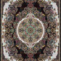 فرش ۱۰۰۰ شانه نقشه حریر سرمه ای