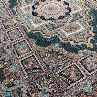 فرش ۱۲۰۰ شانه نقشه حوض نقره ای سرمه ای