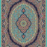 فرش ۱۰۰۰ شانه نقشه رابین آبی الماسی
