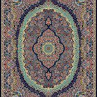 فرش ۱۰۰۰ شانه نقشه رابین سرمه ای