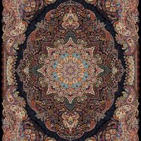 فرش ۱۰۰۰ شانه نقشه سارینا سرمه ای