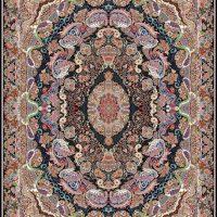 فرش ۱۰۰۰ شانه نقشه شقایق سرمه ای