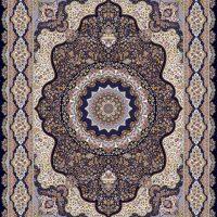 فرش ۱۲۰۰ شانه نقشه گلبرگ سرمه ای