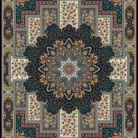 فرش ۱۲۰۰ شانه نقشه منوسا سرمه ای
