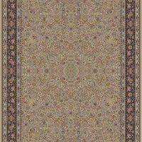 فرش ۱۰۰۰ شانه نقشه افشان گل مرغی حاشیه بادامی