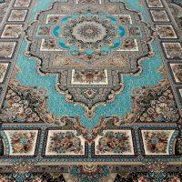 فرش ۱۲۰۰ شانه حوض نقره آبی نگین مشهد تابان