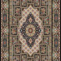 فرش ۷۰۰ شانه نگین مشهد هلال نقشه چیتا سرمه ای کد ۲۰۵۳