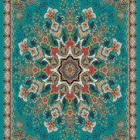 فرش ۷۰۰ شانه نگین مشهد هلال کد ۲۰۶۳ رنگ زمینه آبی