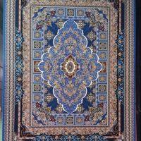 فرش ۷۰۰ شانه نگین مشهد هلال کد ۲۰۸۰ رنگ زمینه کاربنی