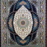 فرش ۷۰۰ شانه نگین مشهد هلال نقشه نیایش سرمه ای کد ۲۰۸۶