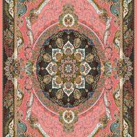 فرش ۷۰۰ شانه نگین مشهد هلال نقشه مانا صورتی کد ۲۰۸۷