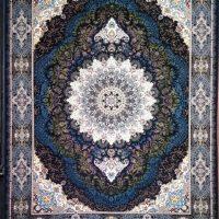 فرش ۷۰۰ شانه نگین مشهد هلال کد ۲۰۹۰ رنگ زمینه سرمه ای