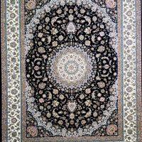 فرش ۷۰۰ شانه نگین مشهد هلال نقشه توران سرمه ای کد ۲۰۹۲