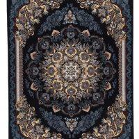 فرش ماشینی ۷۰۰ شانه آدینا نقشه گیسو زمینه سرمه ای