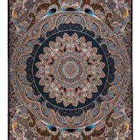 فرش ماشینی ۷۰۰ شانه آدینا نقشه راش زمینه سرمه ای