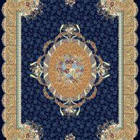 فرش گل برجسته ۱۲۰۰ شانه کد ۳۰۰۲ زمینه سرمه ای
