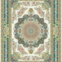 فرش گل برجسته ۱۲۰۰ شانه کد ۳۰۰۴ زمینه کرم
