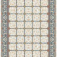 فرش گل برجسته ۱۲۰۰ شانه کد ۳۰۰۵ زمینه کرم