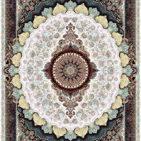 فرش ماشینی ۱۲۰۰ شانه نقشه زیگورات کرم