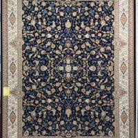 فرش 1000 شانه گل برجسته نقشه افشان اصفهان زمینه سرمه ای