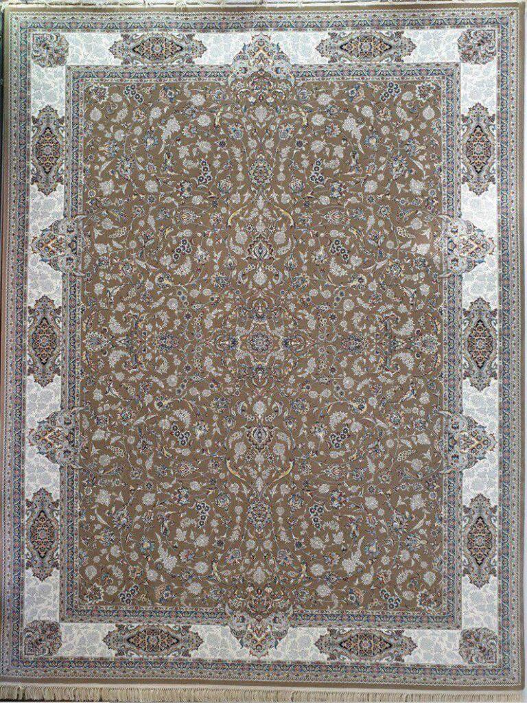 فرش 700 شانه نقشه افشان اصفهان زمینه گردویی