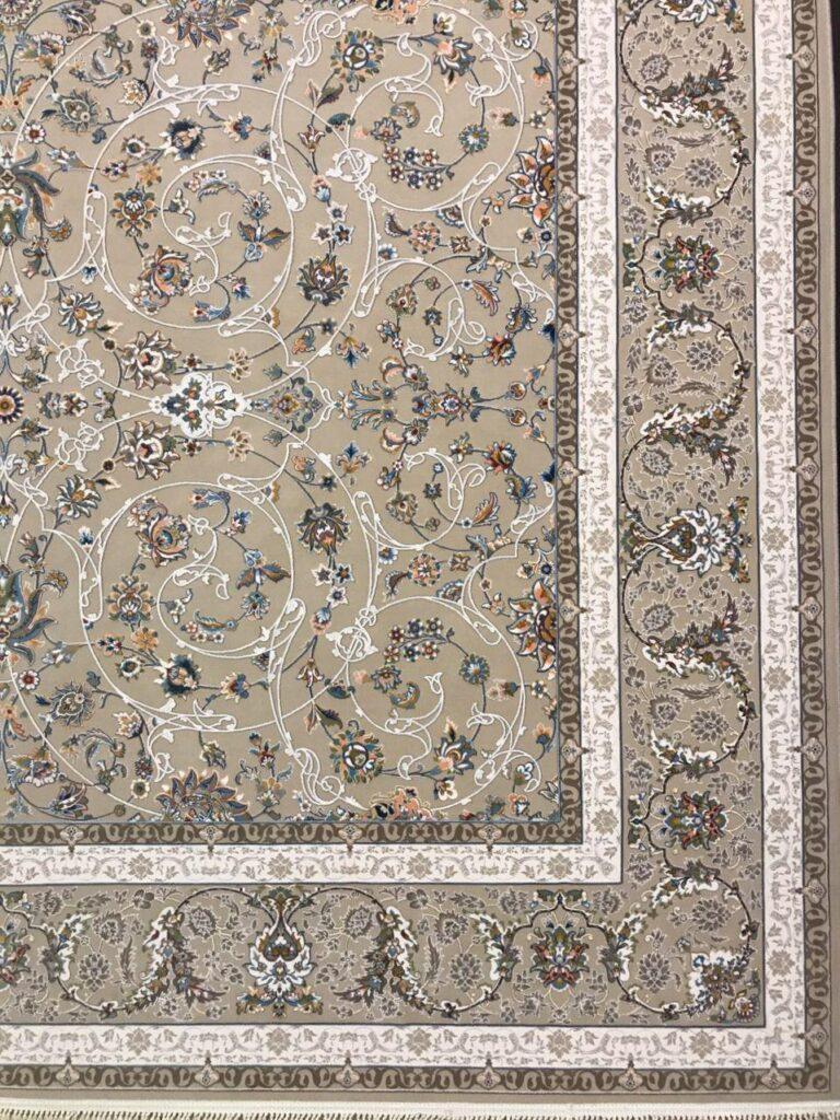 فرش 1200 شانه گل برجسته نقشه افشان اسلیمی زمینه فیلی