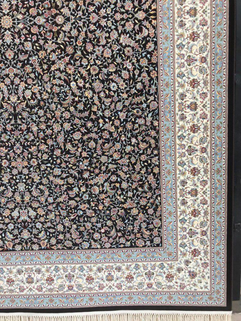 فرش 1200 شانه گل برجسته نقشه افشان گلریز تبریز زمینه قهوه ای