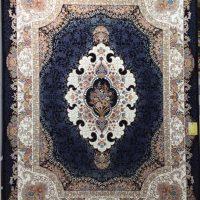فرش 1000 شانه گل برجسته نقشه بهشت زمینه سرمه ای