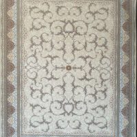 فرش 1200 شانه گل برجسته نقشه دیناز زمینه کرم سفید