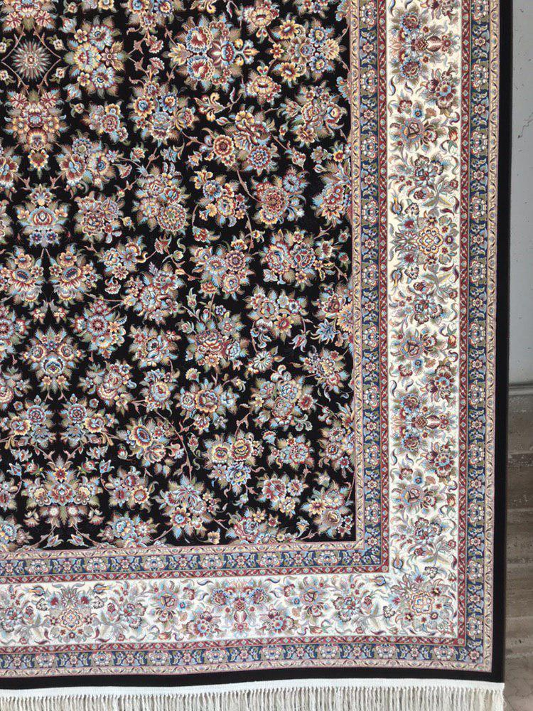 فرش 1200 شانه گل برجسته نقشه گلپونه زمینه قهوه ای