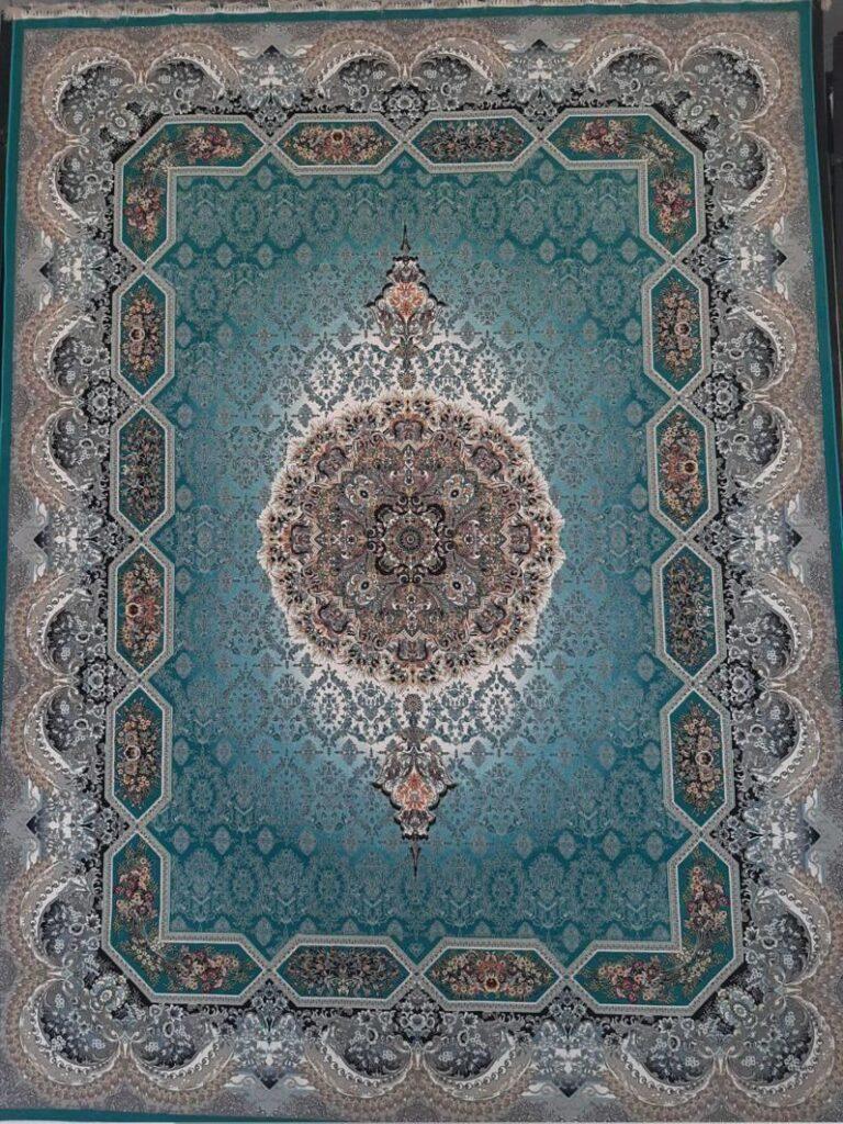 فرش 1200 شانه نقشه هالیدی زمینه آبی