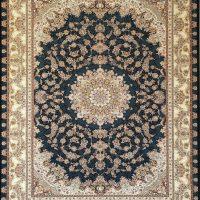 فرش 1200 شانه گل برجسته نقشه ماهگل زمینه سرمه ای