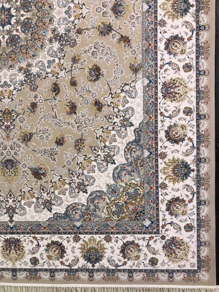 فرش 1200 شانه گل برجسته نقشه نائین زمینه فیلی