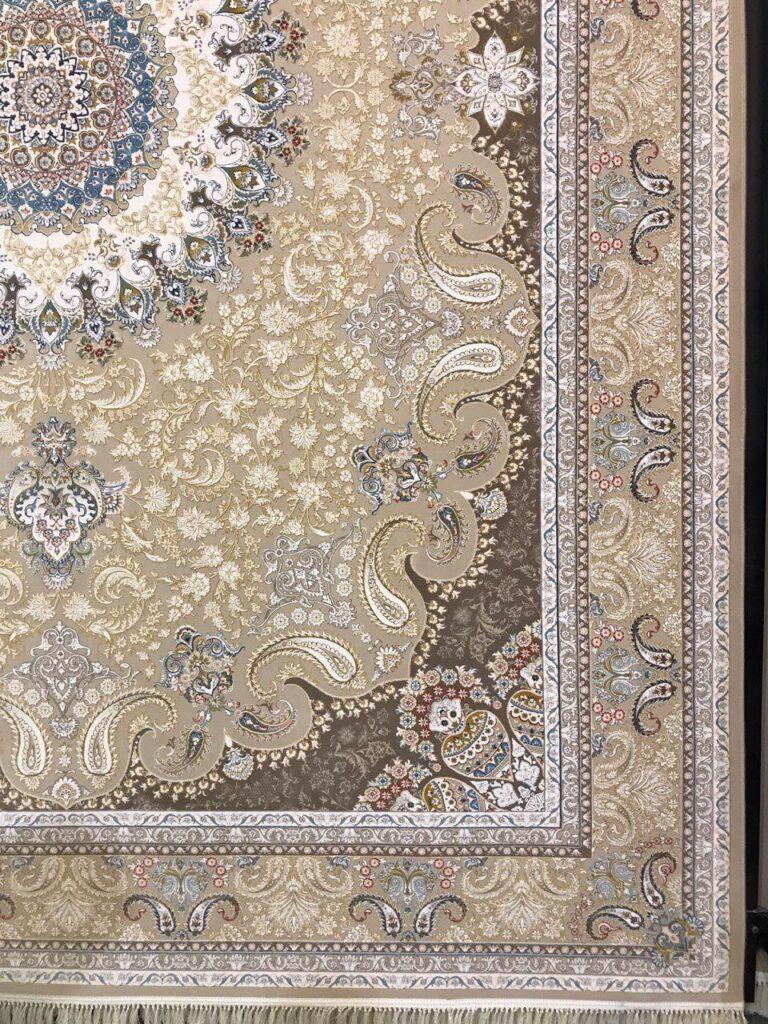 فرش 1200 شانه گل برجسته نقشه نهال زمینه نسکافه ای