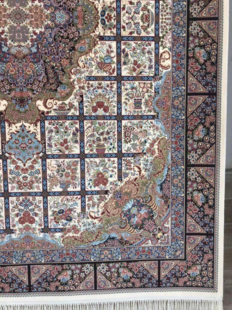 فرش 1200 شانه گل برجسته نقشه نیلو زمینه کرم
