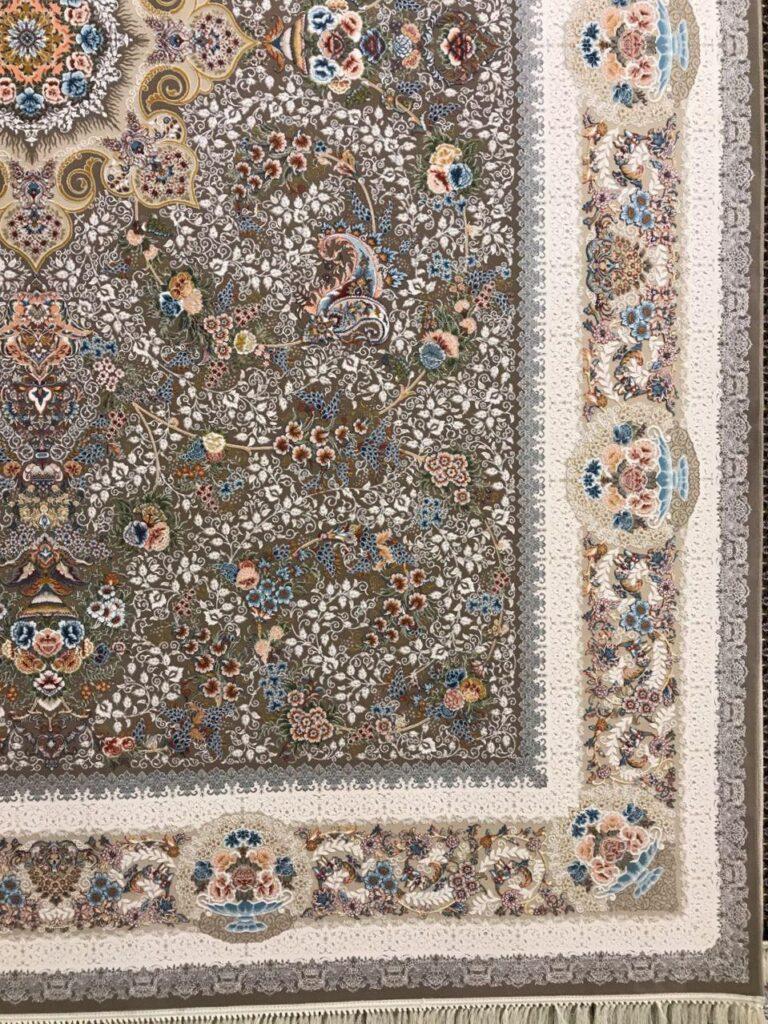 فرش 1200 شانه گل برجسته نقشه پگاه زمینه نسکافه ای