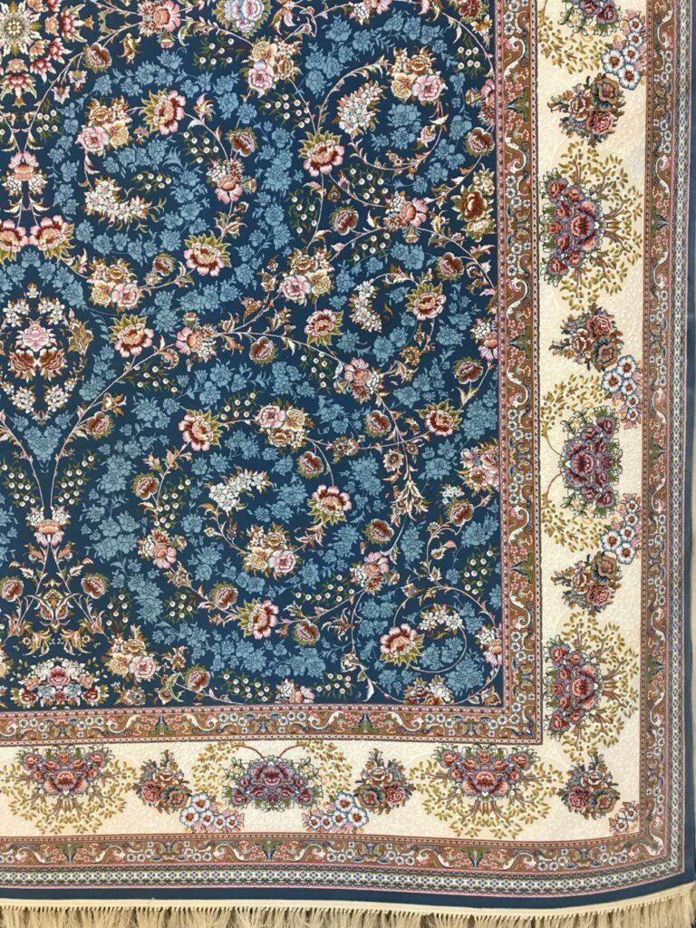 فرش 1000 شانه گل برجسته نقشه افشان شاهانه زمینه آبی