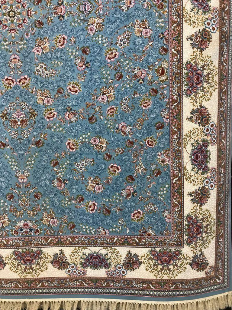 فرش 1000 شانه گل برجسته نقشه افشان شاهانه زمینه اطلسی