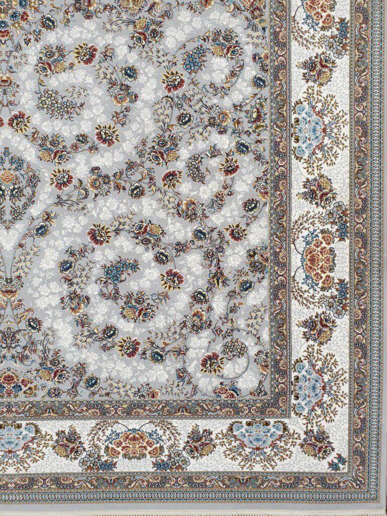 فرش 700 شانه نقشه افشان شاهانه زمینه نقره ای