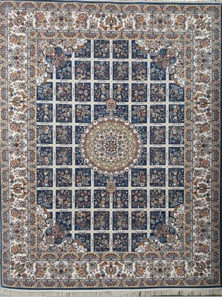 فرش 700 شانه نقشه گلسا زمینه آبی