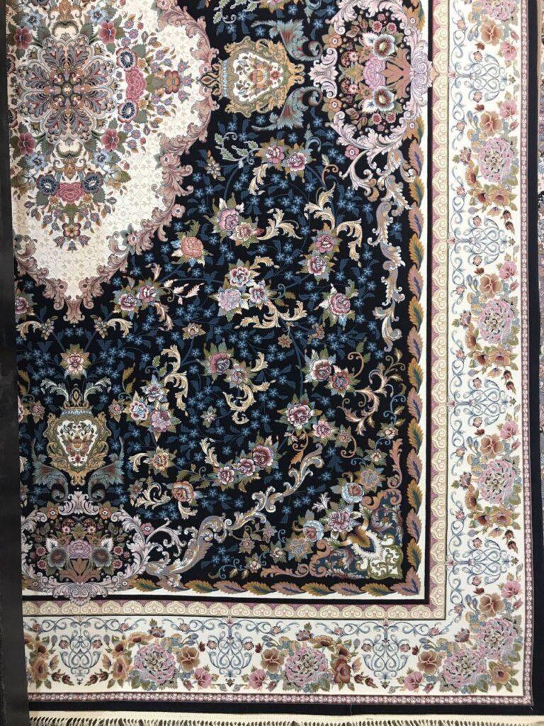 فرش 1000 شانه گل برجسته نقشه کاملیا زمینه سرمه ای