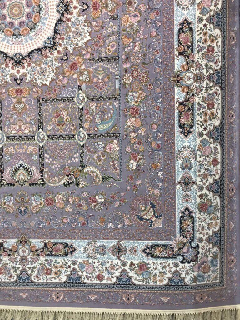 فرش 1000 شانه گل برجسته نقشه خانه رویایی زمینه یاسی