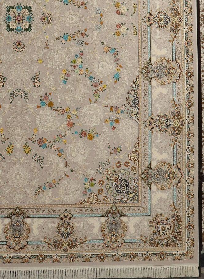 فرش 1200 شانه گل برجسته نقشه هشت بهشت زمینه نقره ای