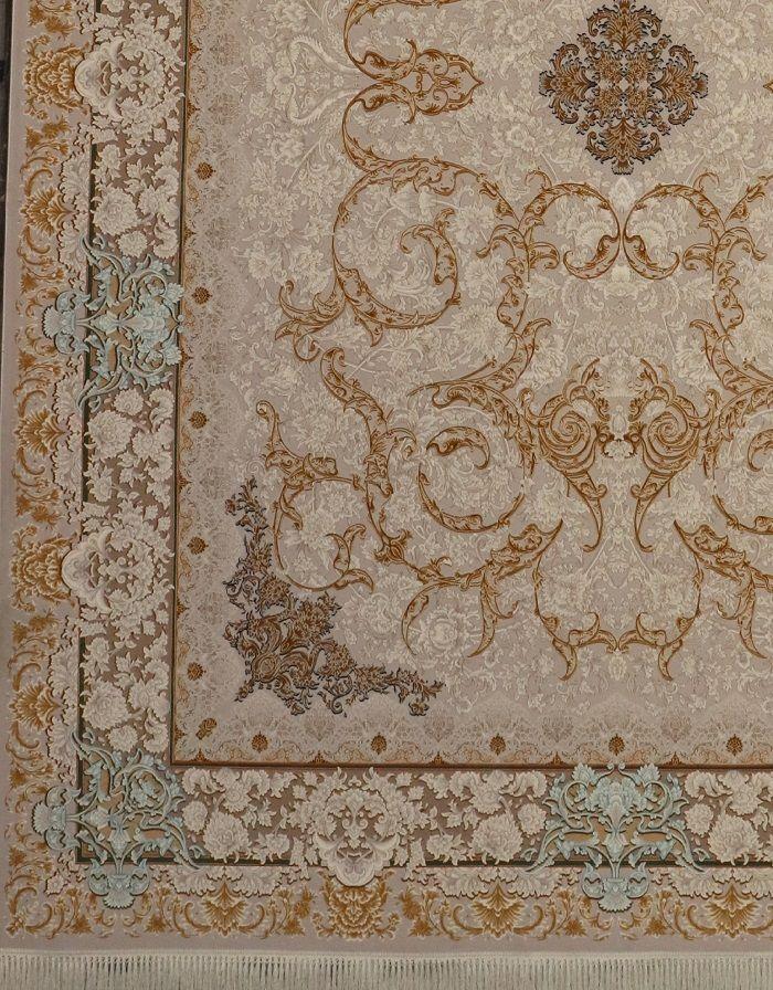 فرش 1200 شانه گل برجسته نقشه آرمان زمینه نقره ای